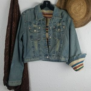 ⭐Distressed Crop Denim Jacket Southwestern Lining